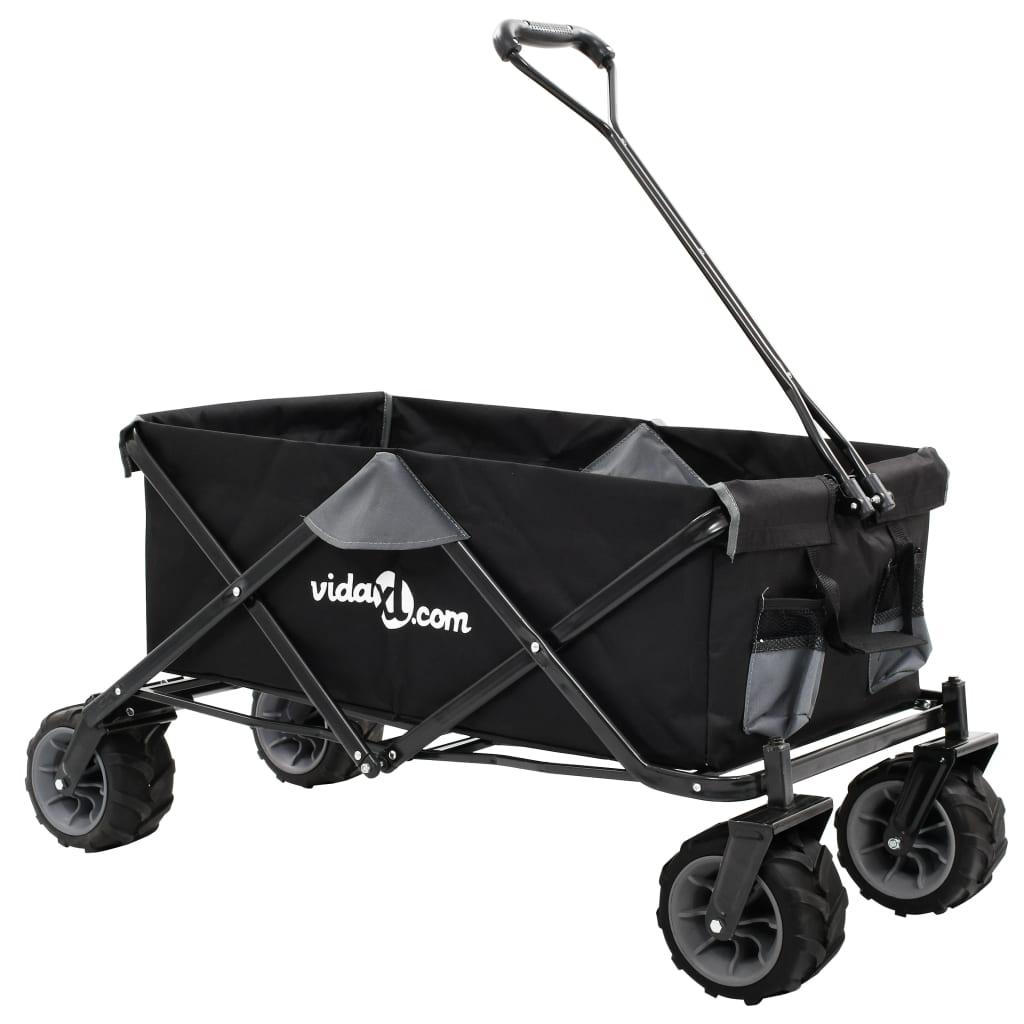 vidaXL Skladací ručný vozík, kov, sivo čierny
