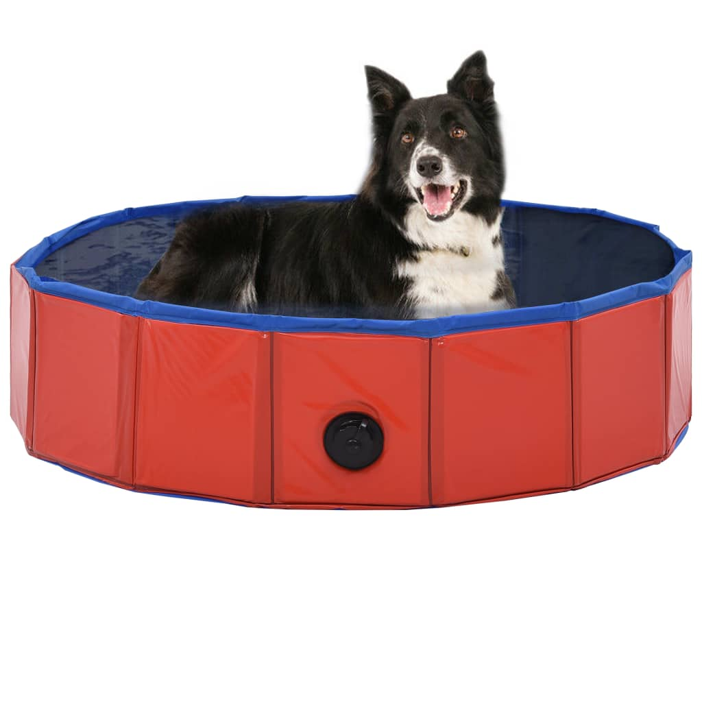 vidaXL Skladací bazén pre psov červená 80x20 cm PVC