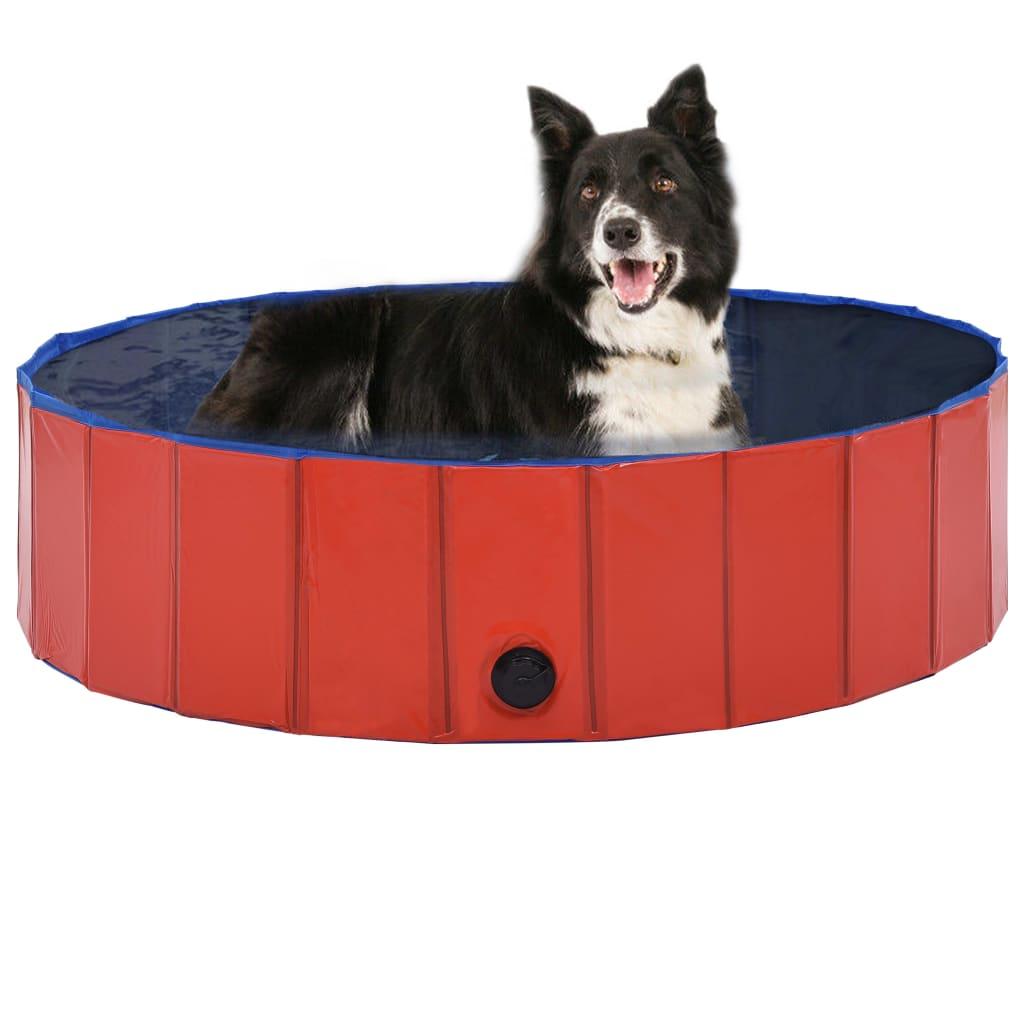 vidaXL Skladací bazén pre psov červená 120x30 cm PVC