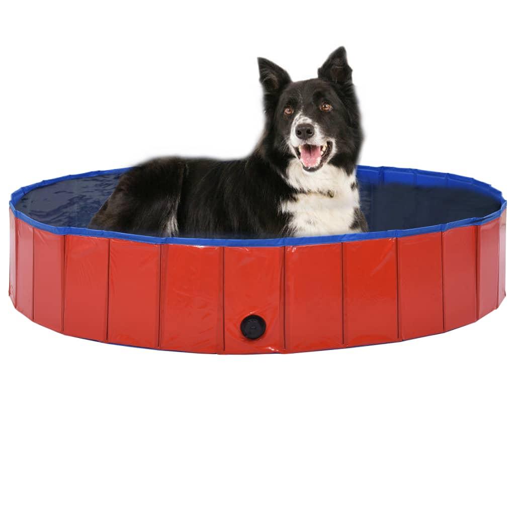 vidaXL Skladací bazén pre psov červená 160x30 cm PVC