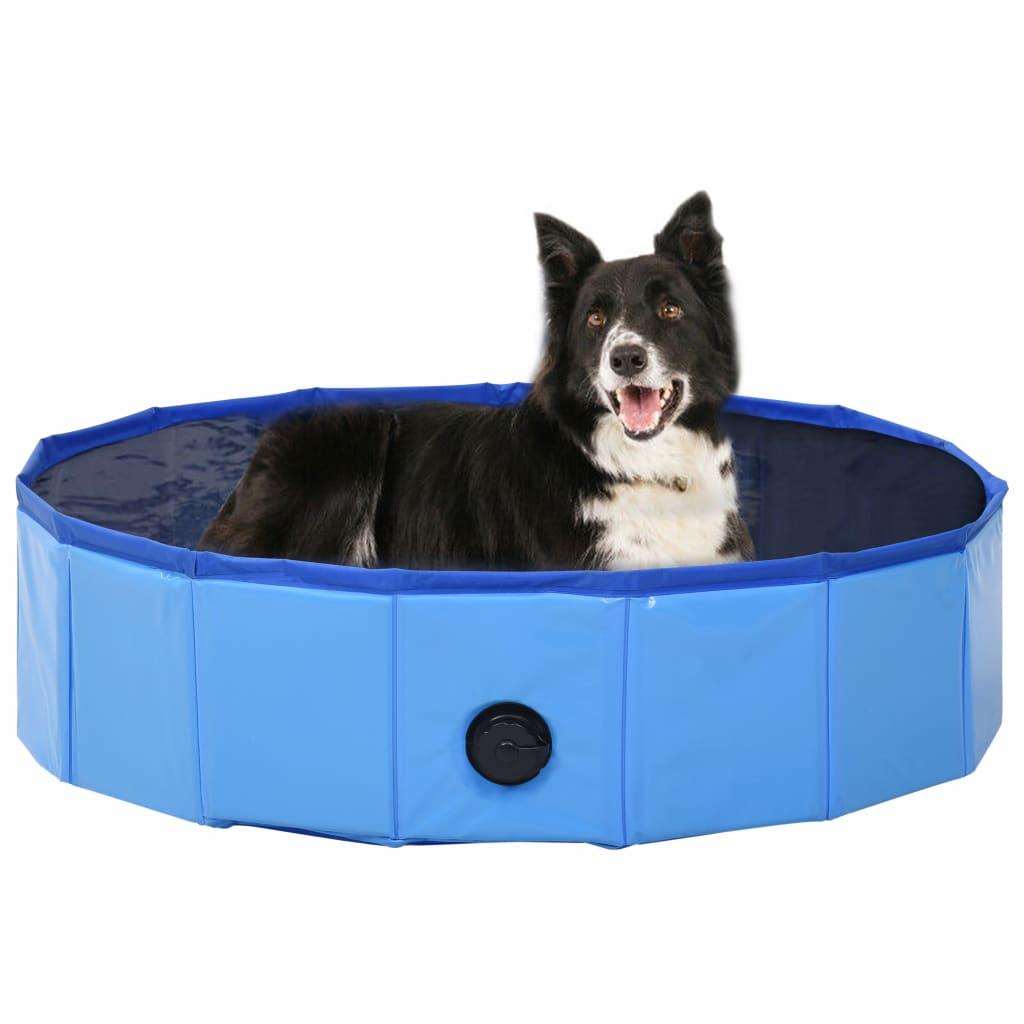 vidaXL Skladací bazén pre psov modrý 80x20 cm PVC