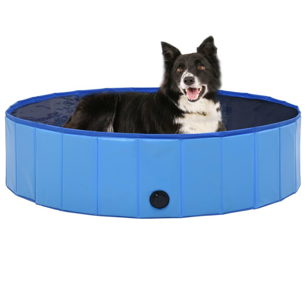 vidaXL Skladací bazén pre psov modrý 120x30 cm PVC