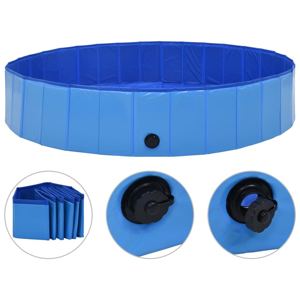vidaXL Skladací bazén pre psov modrá 160x30 cm PVC