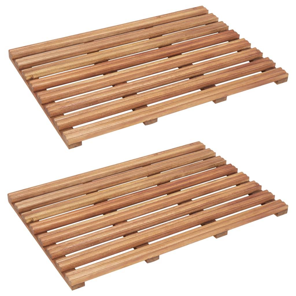 vidaXL Kúpeľňové predložky 2 ks masívne akáciové drevo 56x37 cm