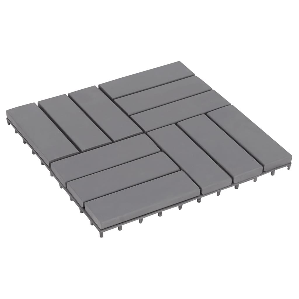 vidaXL Podlahové dlaždice 10 ks sivé 30x30 cm masívne akáciové drevo