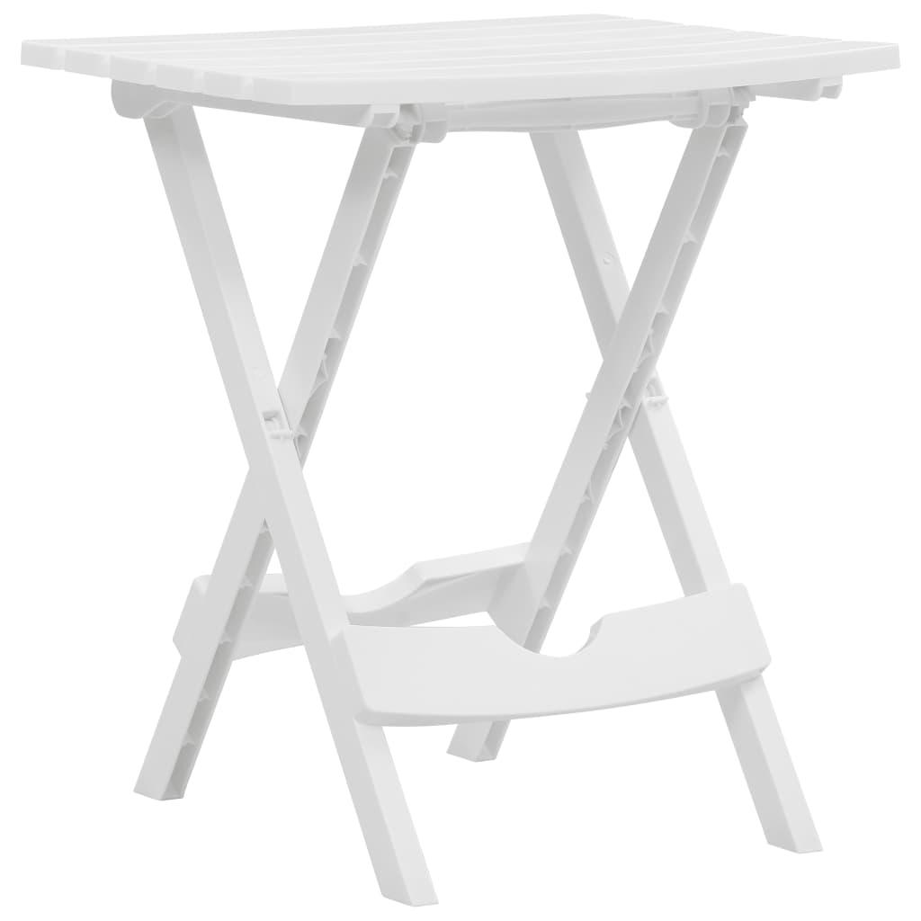 vidaXL Skladací záhradný stôl biely 45,5x38,5x50 cm