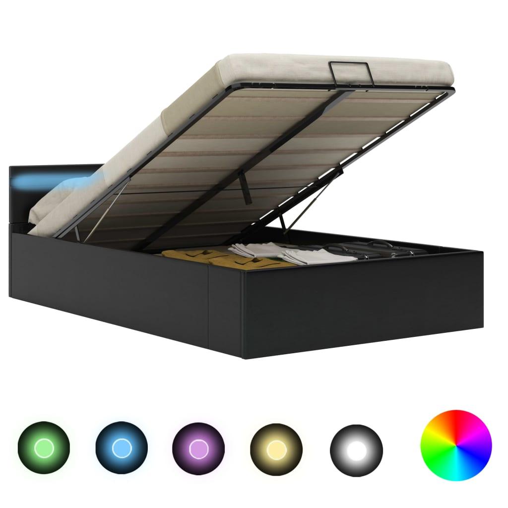 vidaXL Hydraulický posteľný rám+úložný priestor, LED, umelá koža 140x200 cm