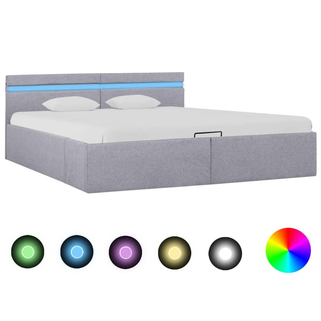 vidaXL Hydraulický posteľný rám+úložný priestor, LED, látka 160x200 cm
