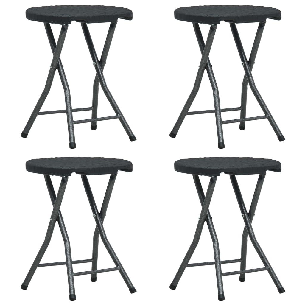 vidaXL Skladacie záhradné stoličky 4 ks čierne HDPE ratanový vzhľad