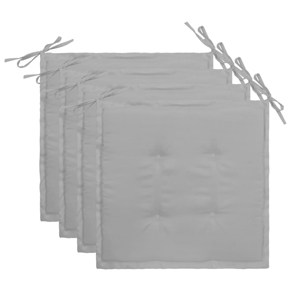 vidaXL Podložky na záhradné stoličky 4 ks, sivé 40x40x3 cm