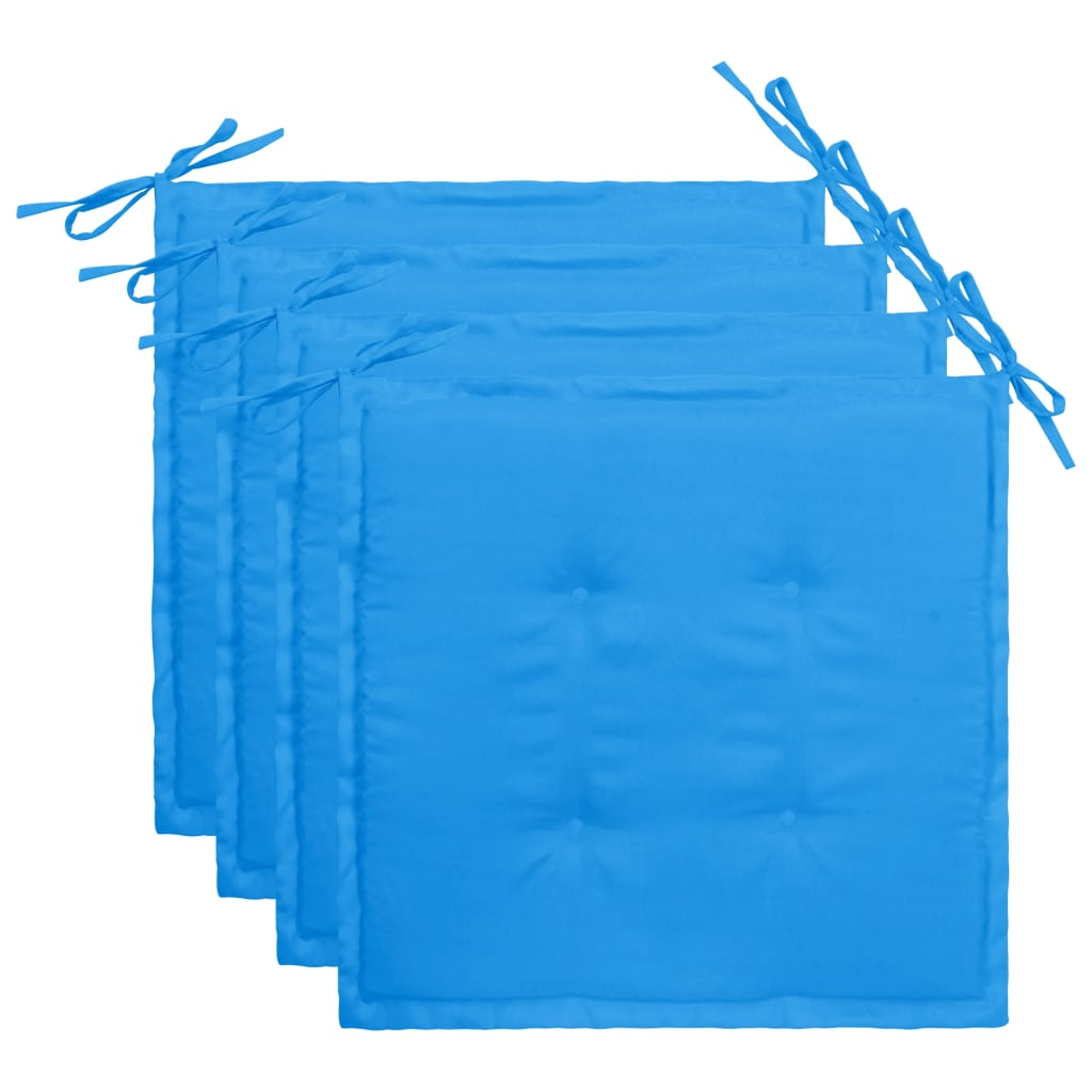 vidaXL Podložky na záhradné stoličky 4 ks, modré 40x40x3 cm