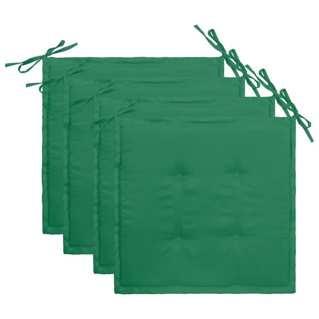vidaXL Podložky na záhradné stoličky 4 ks, zelené 40x40x3 cm