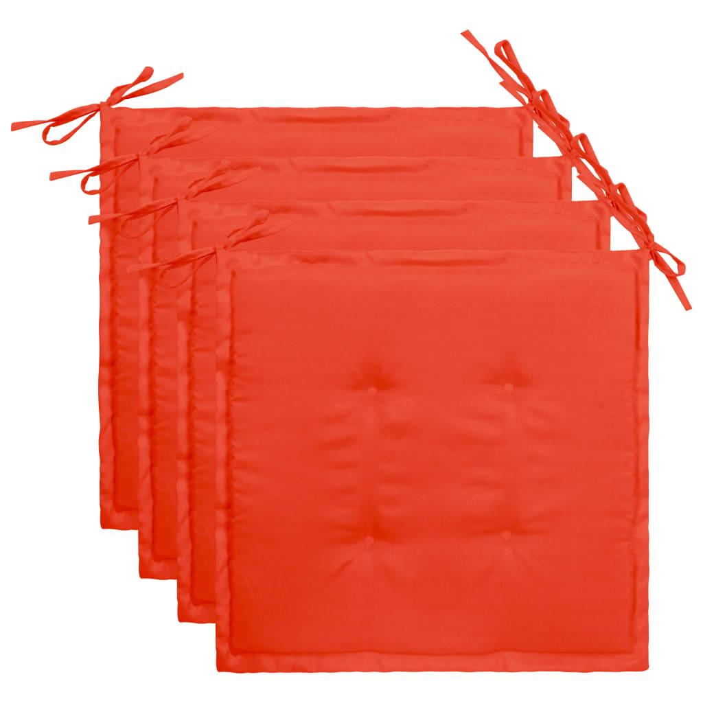 vidaXL Podložky na záhradné stoličky 4 ks, červené 40x40x3 cm