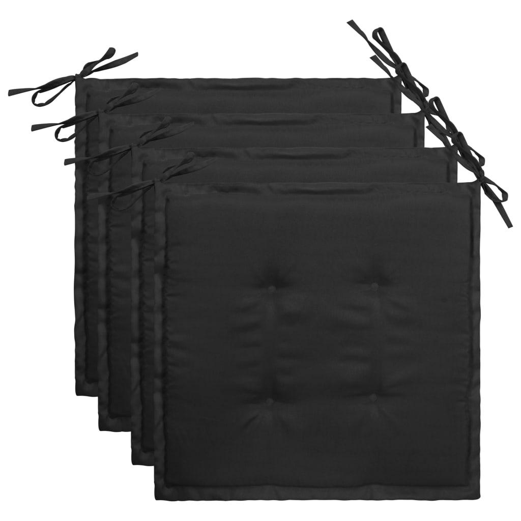 vidaXL Podložky na záhradné stoličky 4 ks, čierne 40x40x3 cm