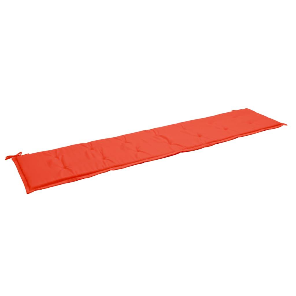 vidaXL Podložka na záhradnú lavičku, červená 200x50x3 cm