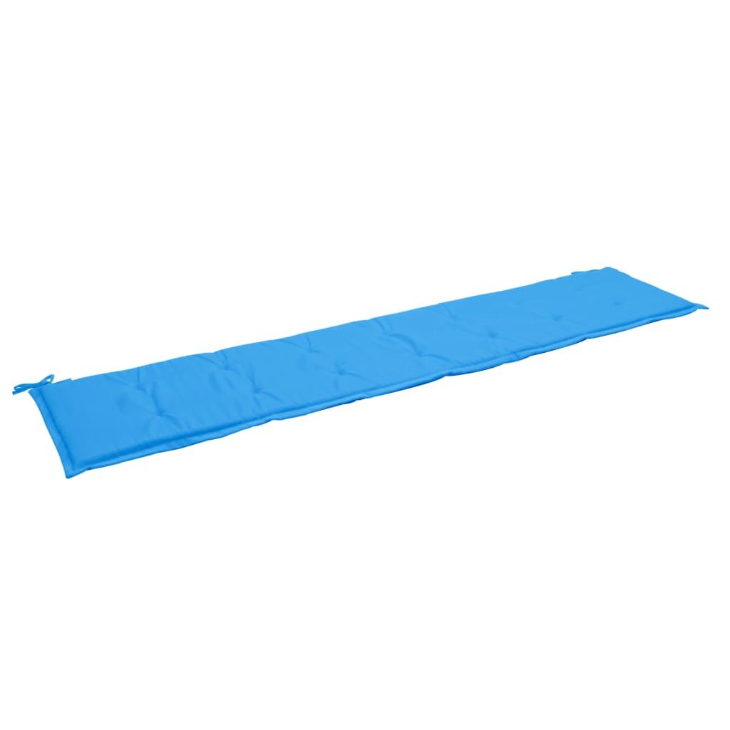 vidaXL Podložka na záhradnú lavičku, modrá 200x50x3 cm