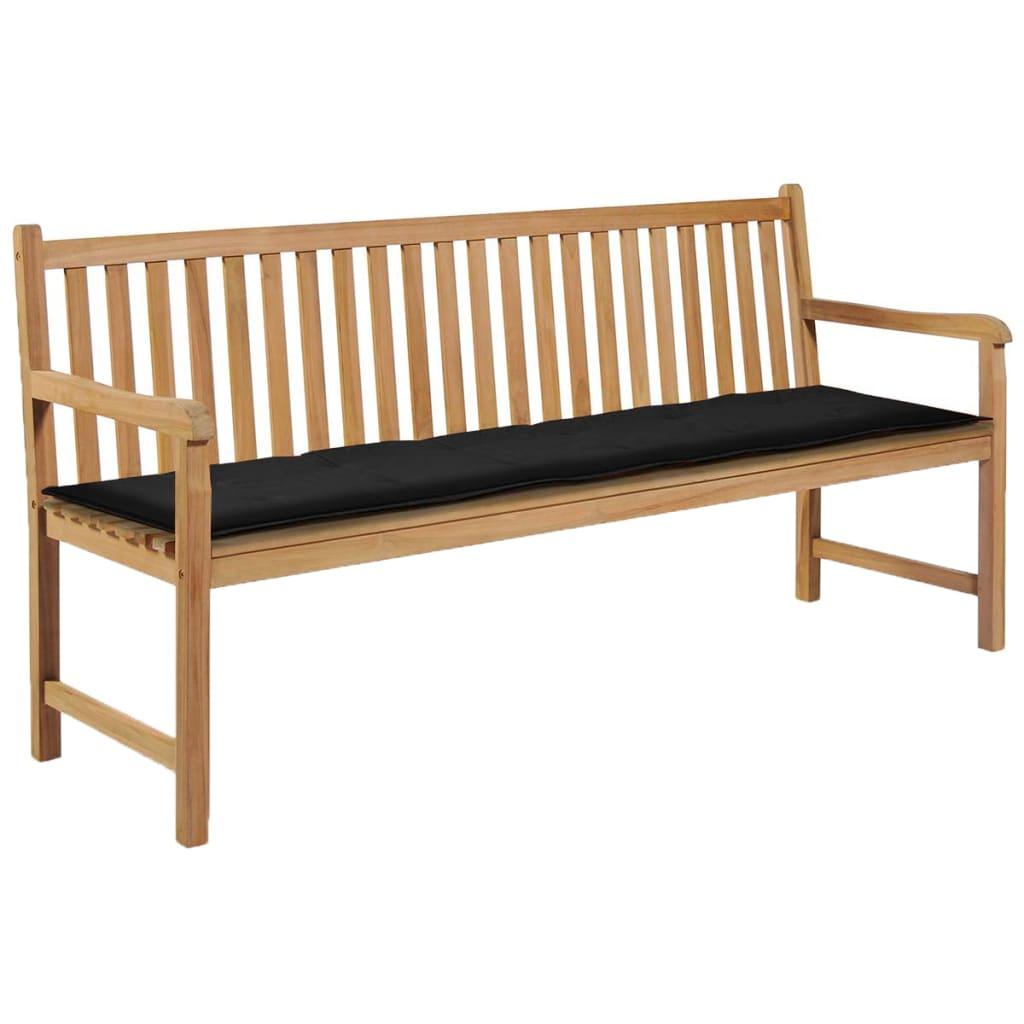 vidaXL Podložka na záhradnú lavičku, čierna 180x50x3 cm