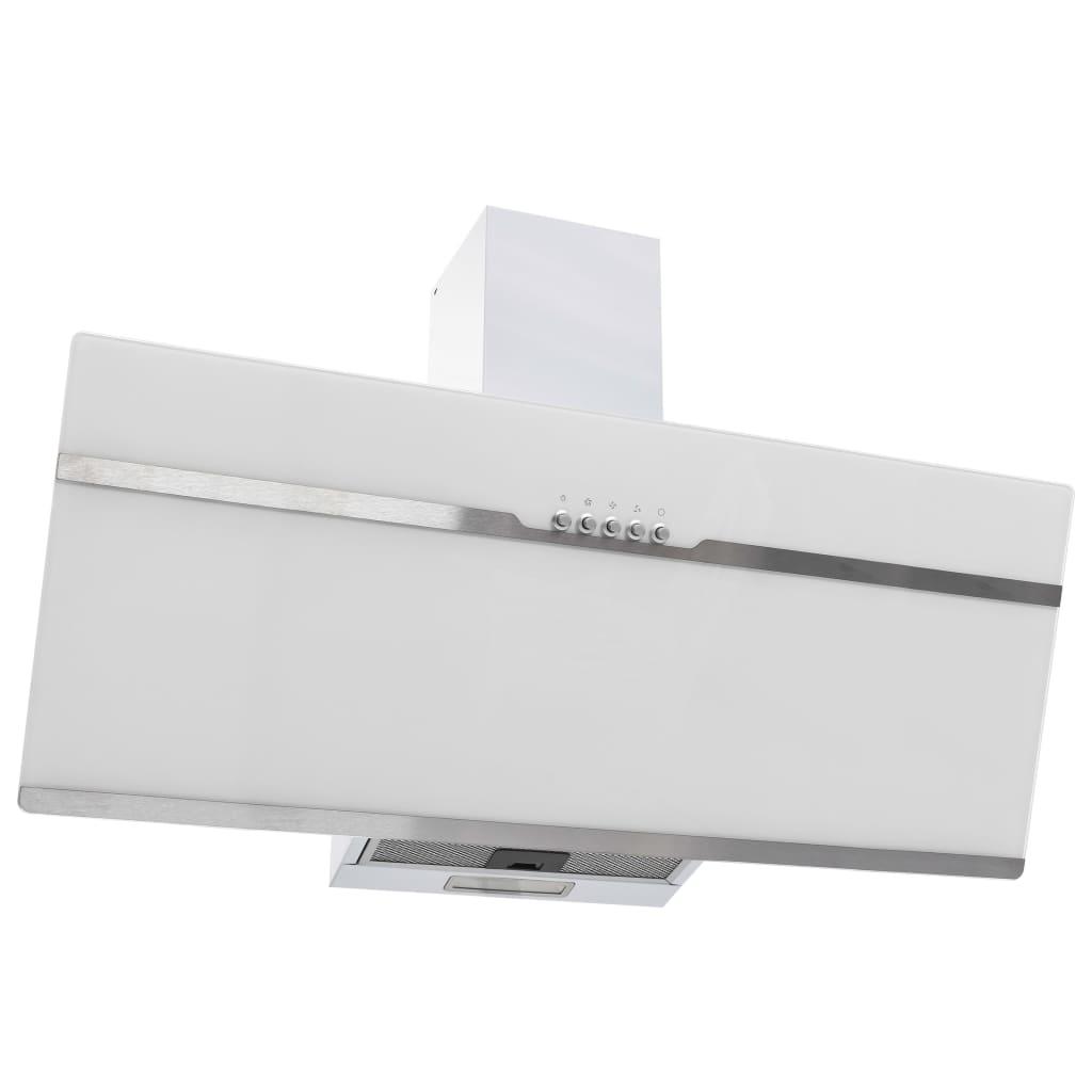 vidaXL Nástenný digestor 90 cm nehrdzavejúca oceľ a tvrdené sklo biela