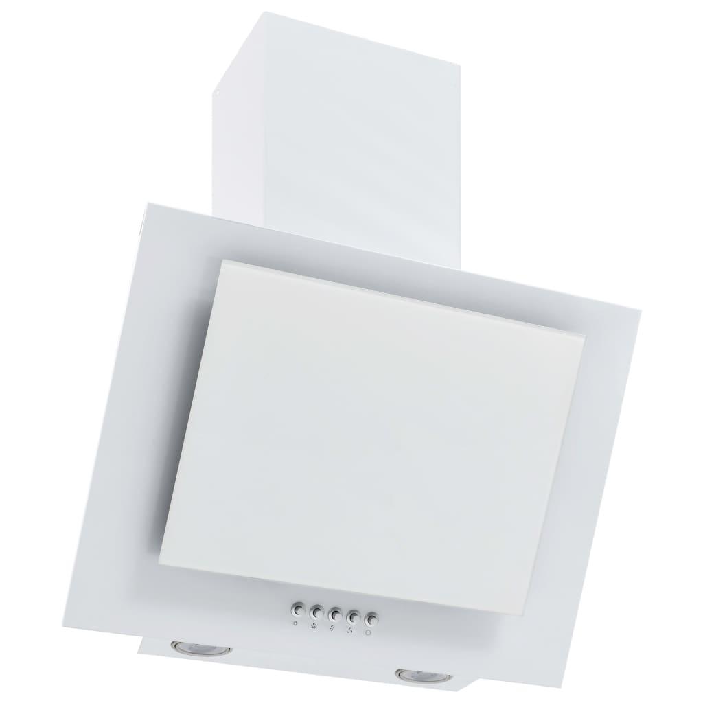 vidaXL Nástenný digestor 60 cm nehrdzavejúca oceľ a tvrdené sklo biely