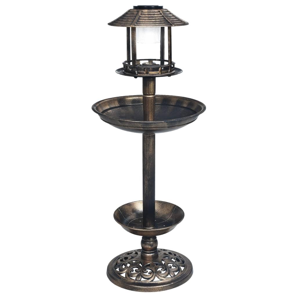 vidaXL Dekoratívny kúpeľ pre vtáky so solárnymi LED svetlami plastový