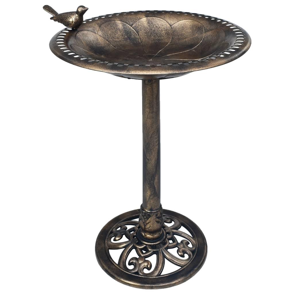 vidaXL Kúpeľ pre vtáky bronzový plastový