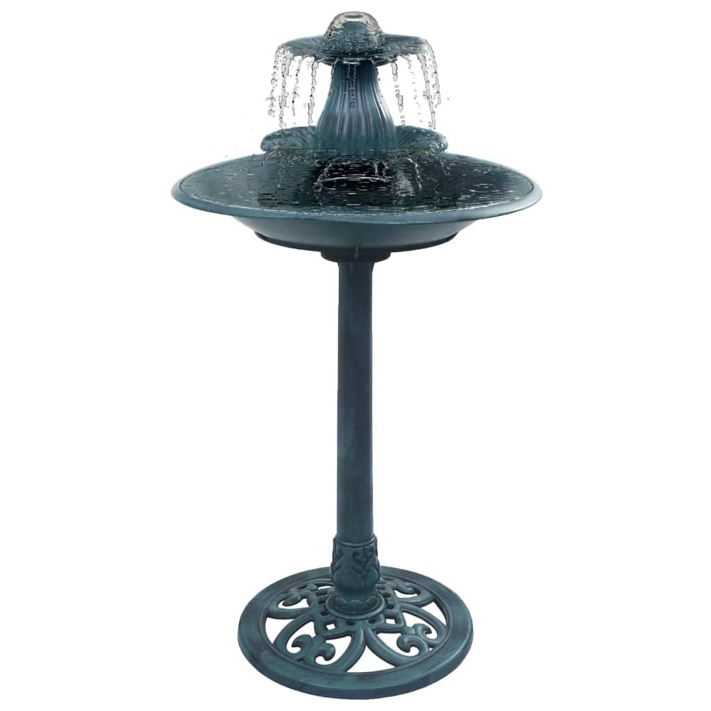 vidaXL Vtáčí kúpeľ s fontánou zelený 50x91 cm plastový