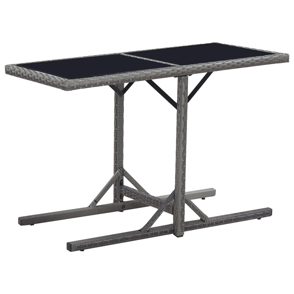 vidaXL Záhradný stôl čierny 110x53x72 cm sklenený a polyratan
