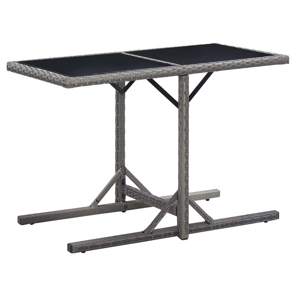 vidaXL Záhradný stôl antracitový 110x53x72 cm sklenený a polyratan
