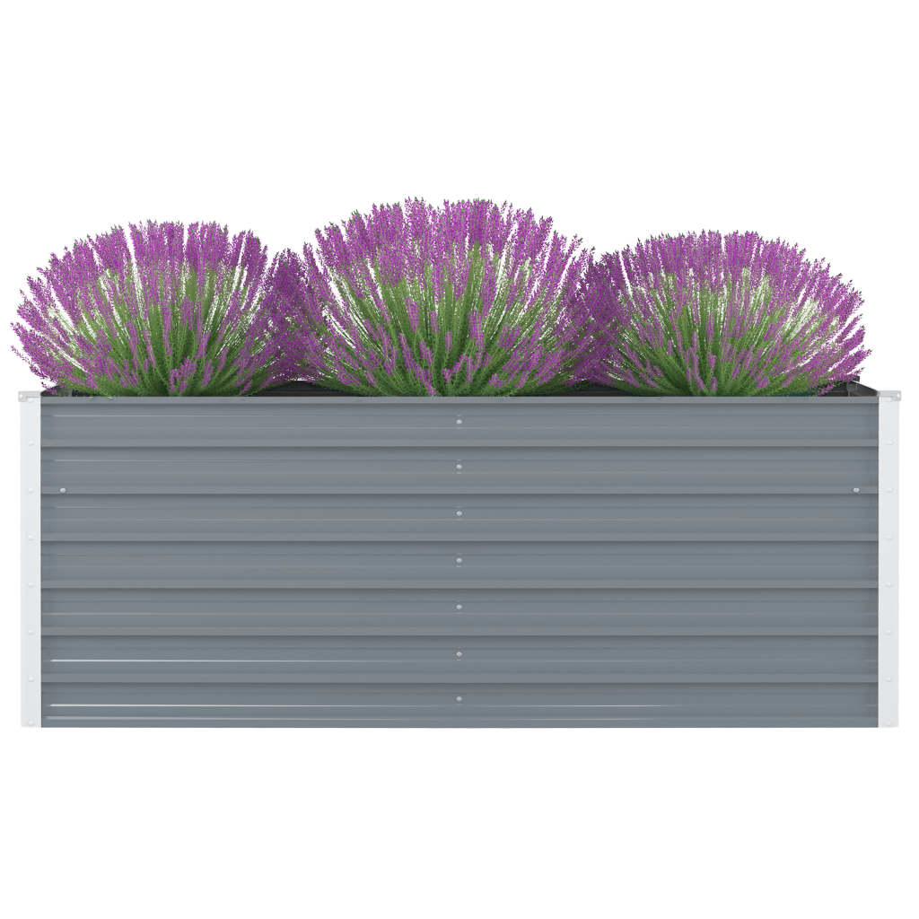 vidaXL Vyvýšený záhradný kvetináč sivý 160x80x45 cm pozinkovaná oceľ