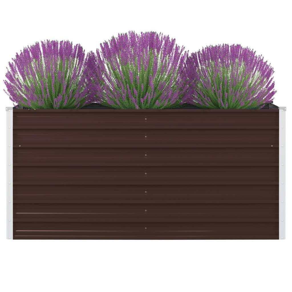 vidaXL Vyvýšený záhradný kvetináč hnedý 160x80x45 cm pozinkovaná oceľ