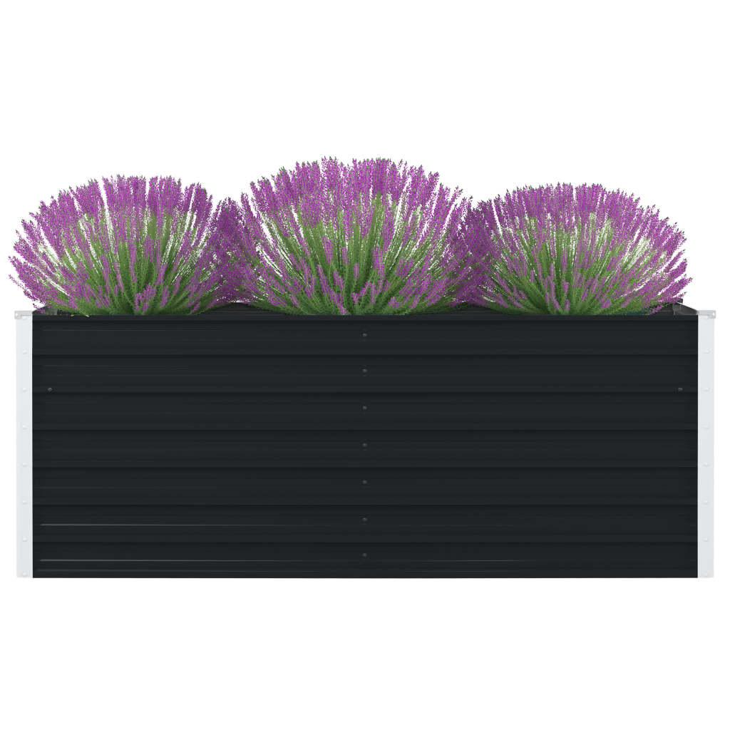 vidaXL Vyvýšený záhradný kvetináč antracitový 160x80x45 cm pozinkovaná oceľ