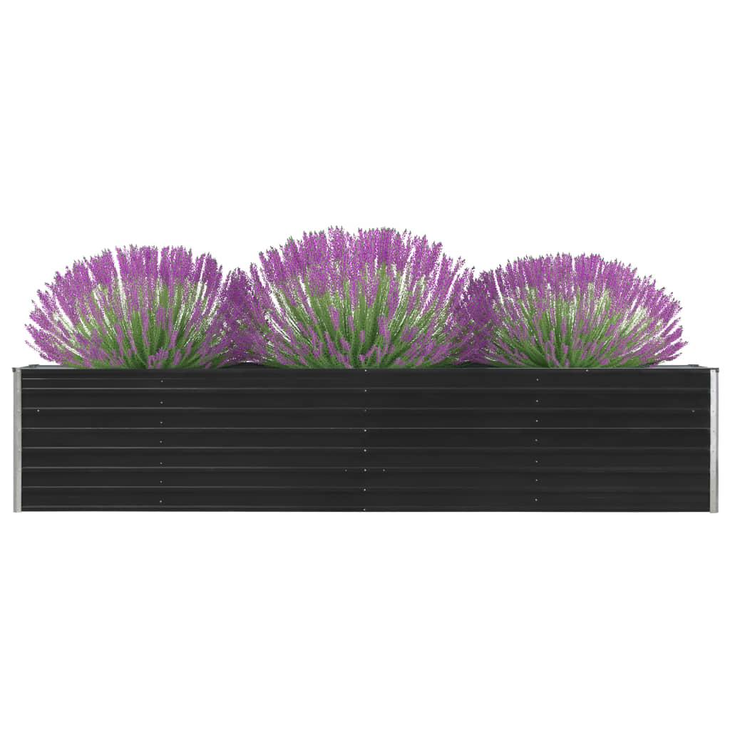 vidaXL Záhradný kvetináč, pozinkovaná oceľ 320x40x45 cm, antracitový