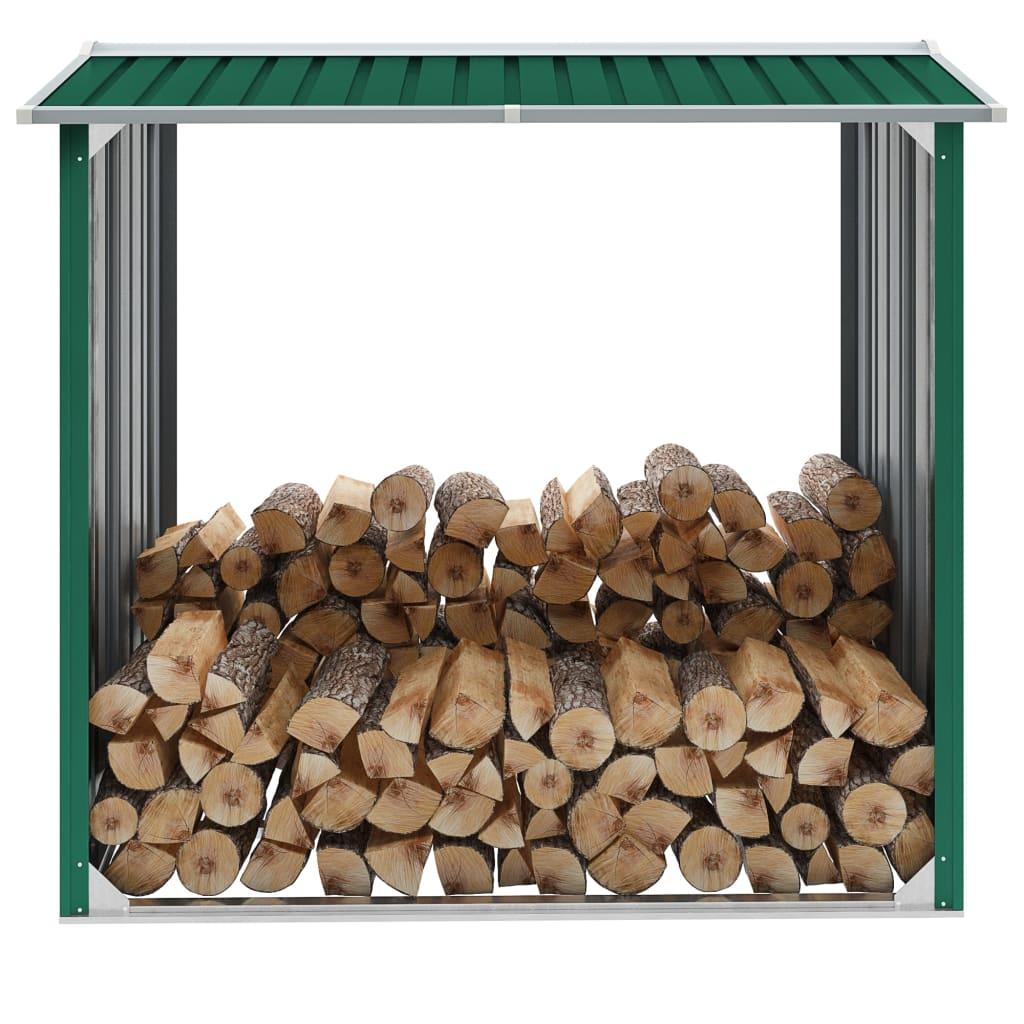 vidaXL Kôlňa na drevo zelená 172x91x154 cm pozinkovaná oceľ