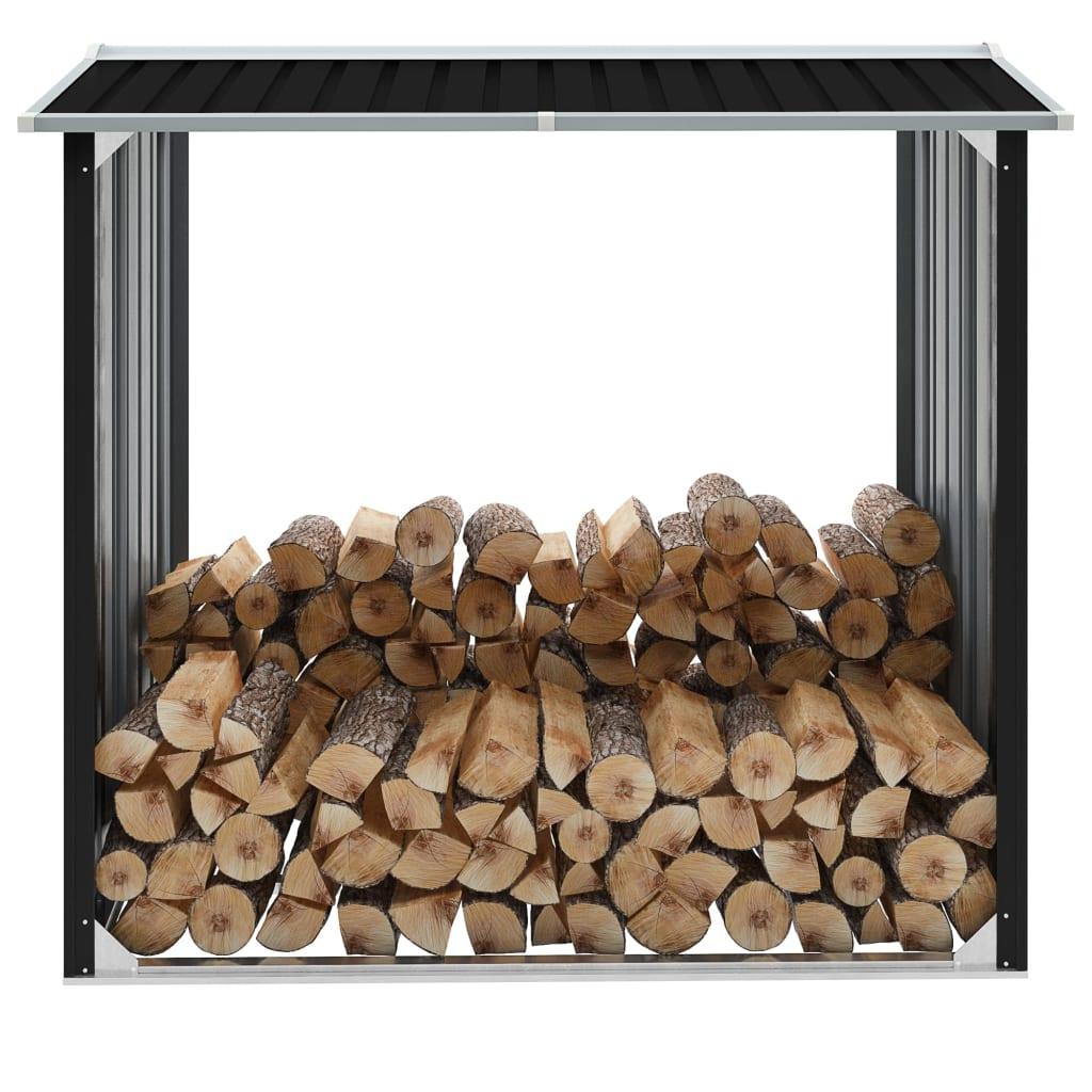 vidaXL Kôlňa na drevo antracitová 172x91x154 cm pozinkovaná oceľ