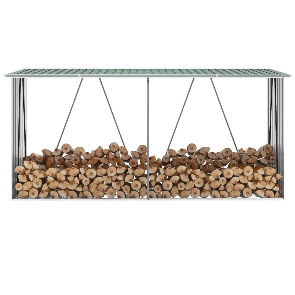 vidaXL Záhradná kôlňa na drevo galvanizovaná oceľ 330x84x152 cm zelená