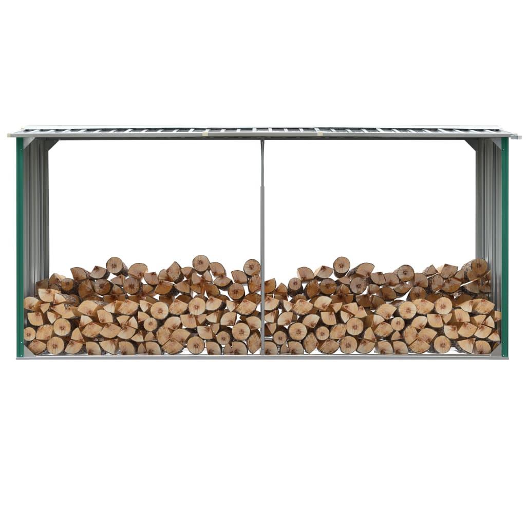 vidaXL Záhradná kôlňa na drevo zelená 330x92x153 cm galvanizovaná oceľ