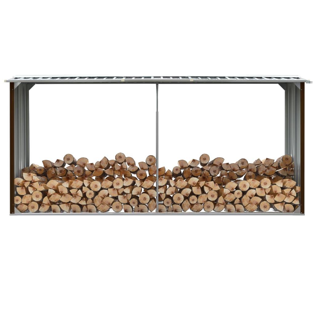 vidaXL Záhradná kôlňa na drevo hnedá 330x92x153 cm galvanizovaná oceľ