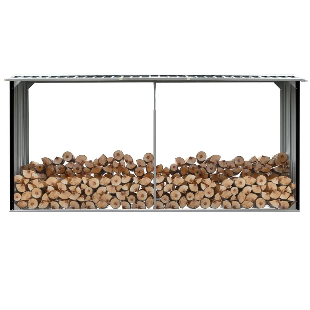 vidaXL Záhradná kôlňa na drevo antracitová 330x92x153 cm galvanizovaná oceľ