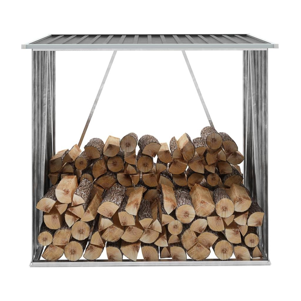 vidaXL Záhradná kôlňa na drevo antracitová 163x83x154 cm galvanizovaná oceľ