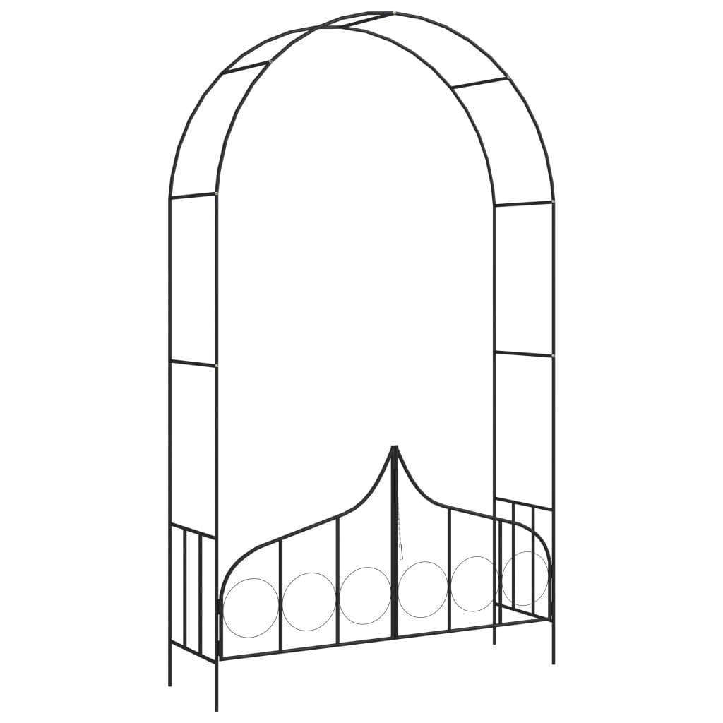 vidaXL Záhradná pergola s bránou čierna 138x40x238 cm železná
