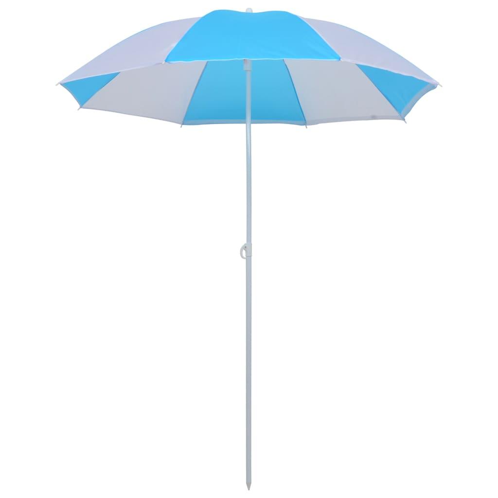 vidaXL Plážový slnečník modro-biely 180 cm látkový