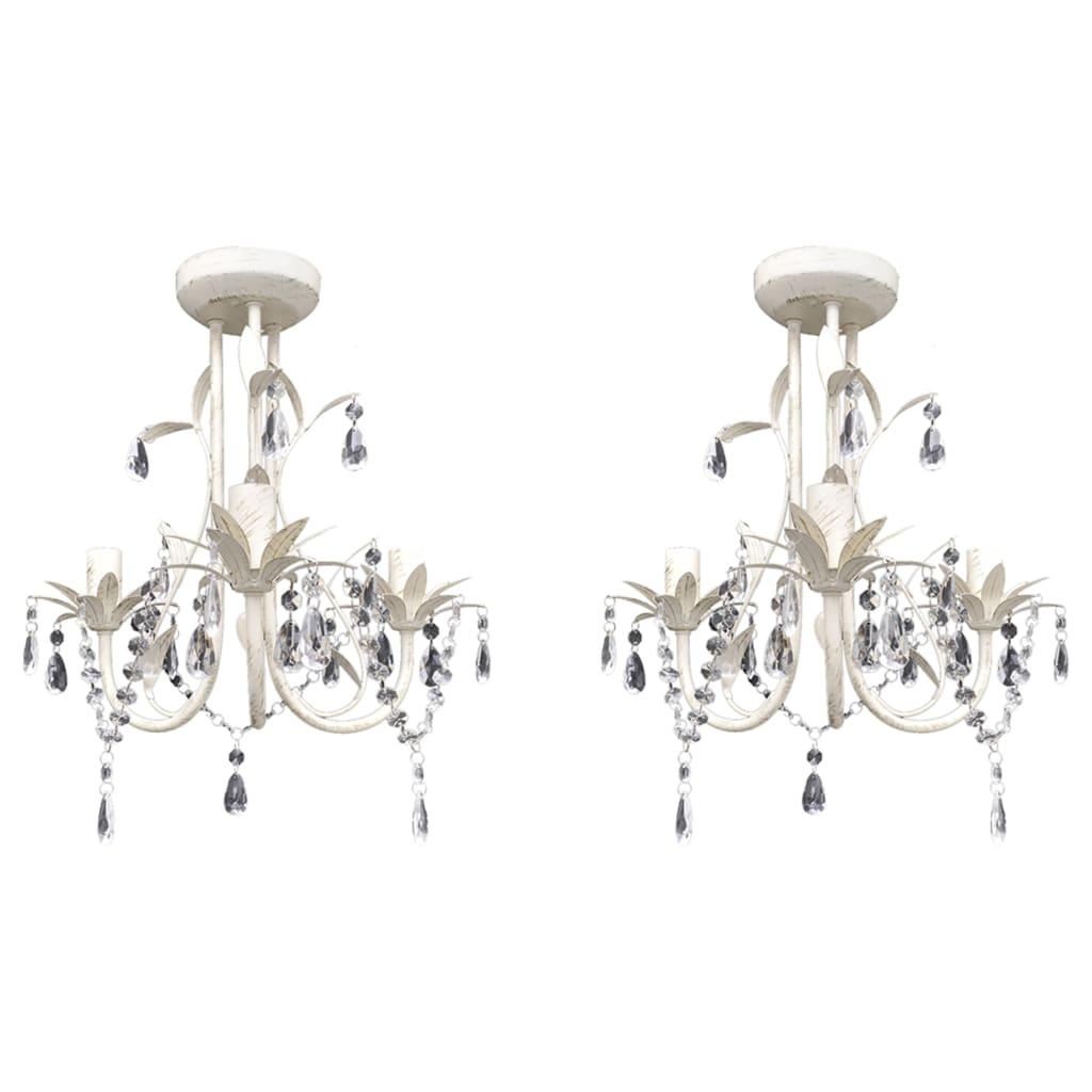 vidaXL Kryštálové závesné stropné lustre 2 ks elegantná biela