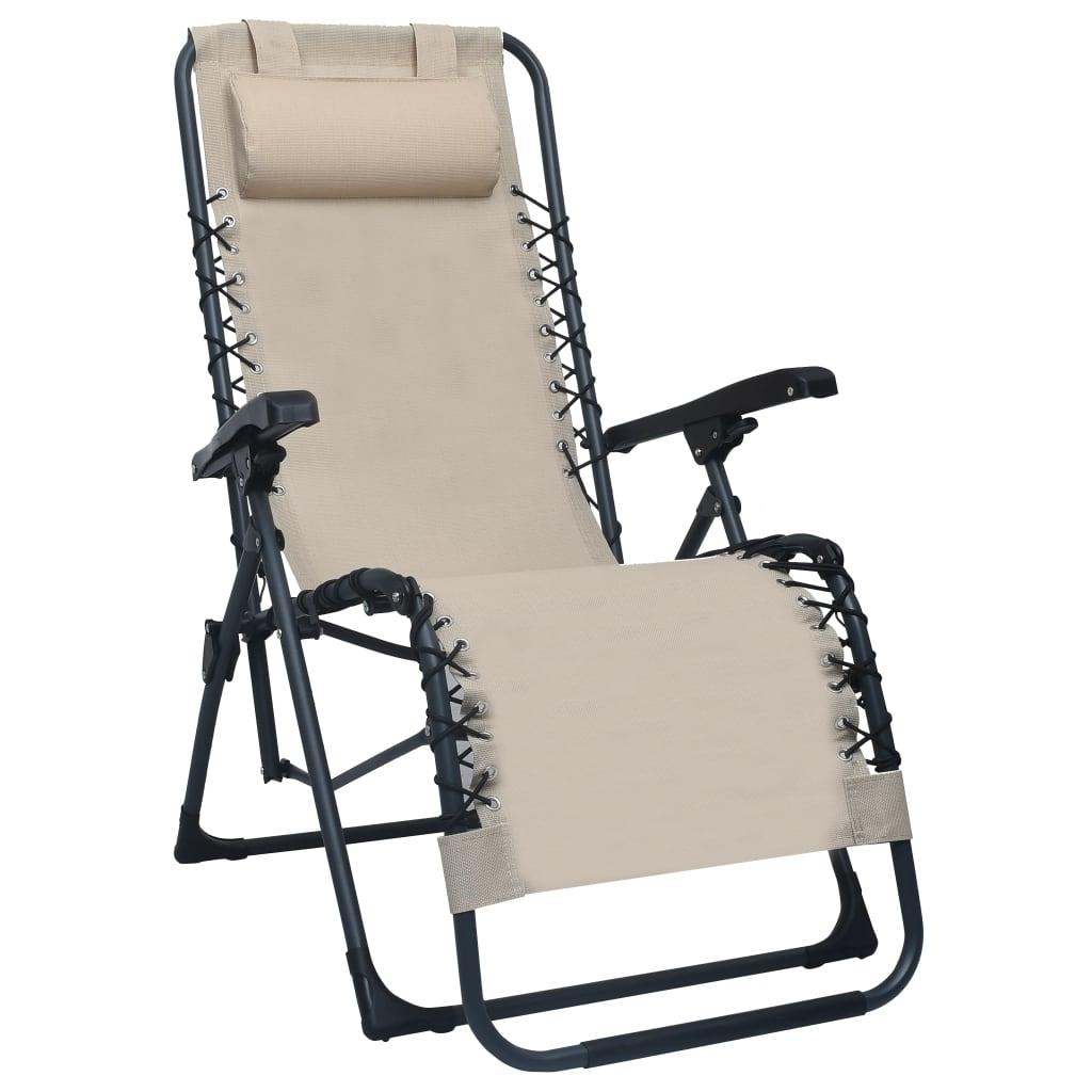 vidaXL Skladacia terasová stolička krémová látková