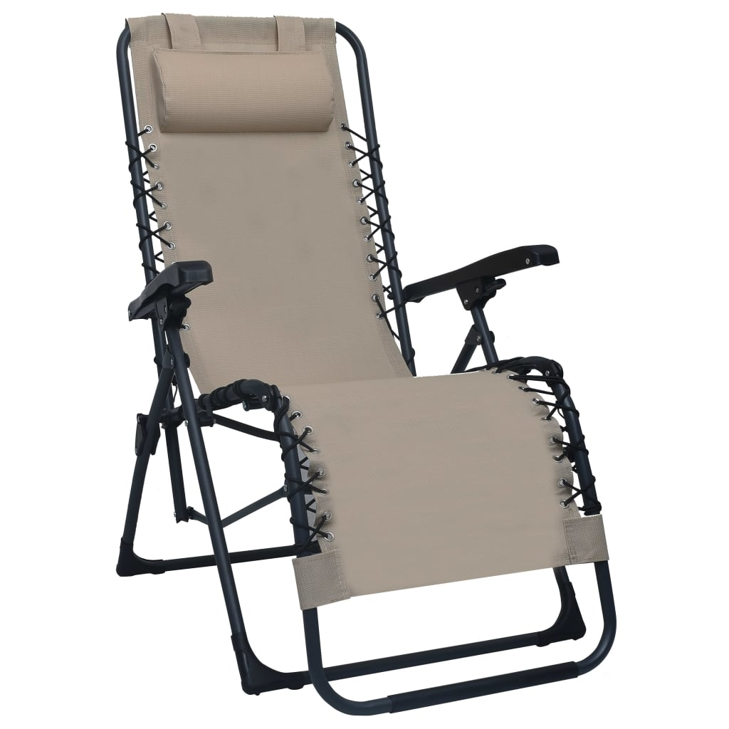 vidaXL Skladacia terasová stolička hnedo-sivá látková