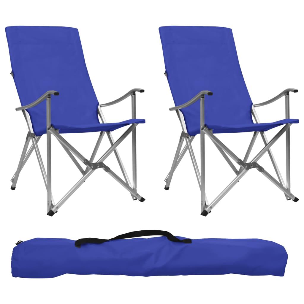 vidaXL Skladacie kempingové stoličky 2 ks modré