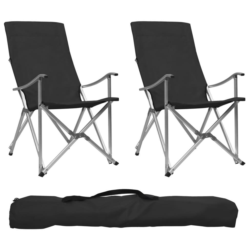 vidaXL Skladacie kempingové stoličky 2 ks čierne