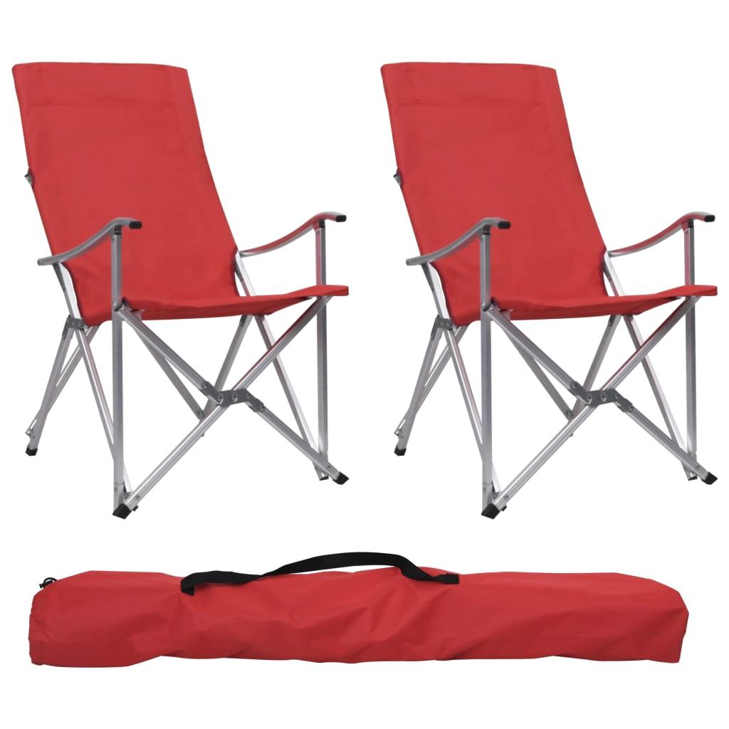 vidaXL Skladacie kempingové stoličky 2 ks červené