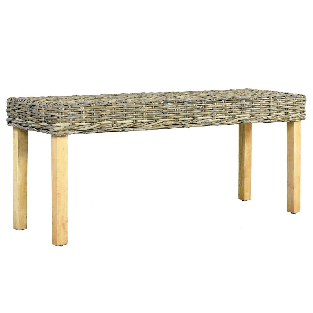 vidaXL Lavička 110 cm prírodný kubu ratan a masívne mangovníkové drevo