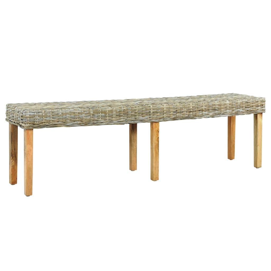 vidaXL Lavička 160 cm biela prírodný kubu ratan a masívne mangovníkové drevo