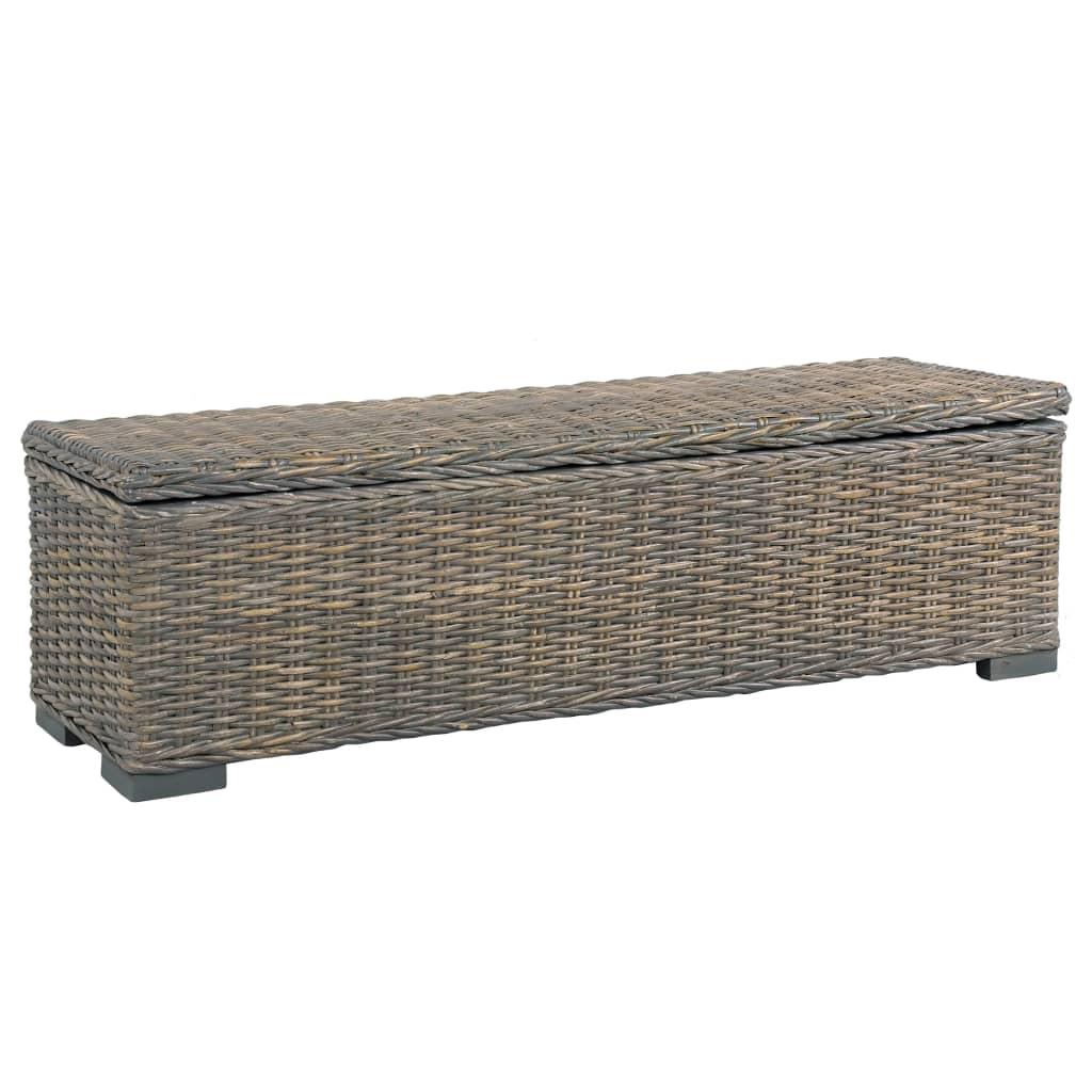 vidaXL Úložný box 120 cm sivý kubu ratan a masívne mangovníkové drevo
